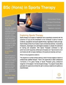 BSc (Hons) in Sports Therapy